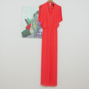 BCBGMAXAZRIA Red/Orange Slit Front Maxi Dress